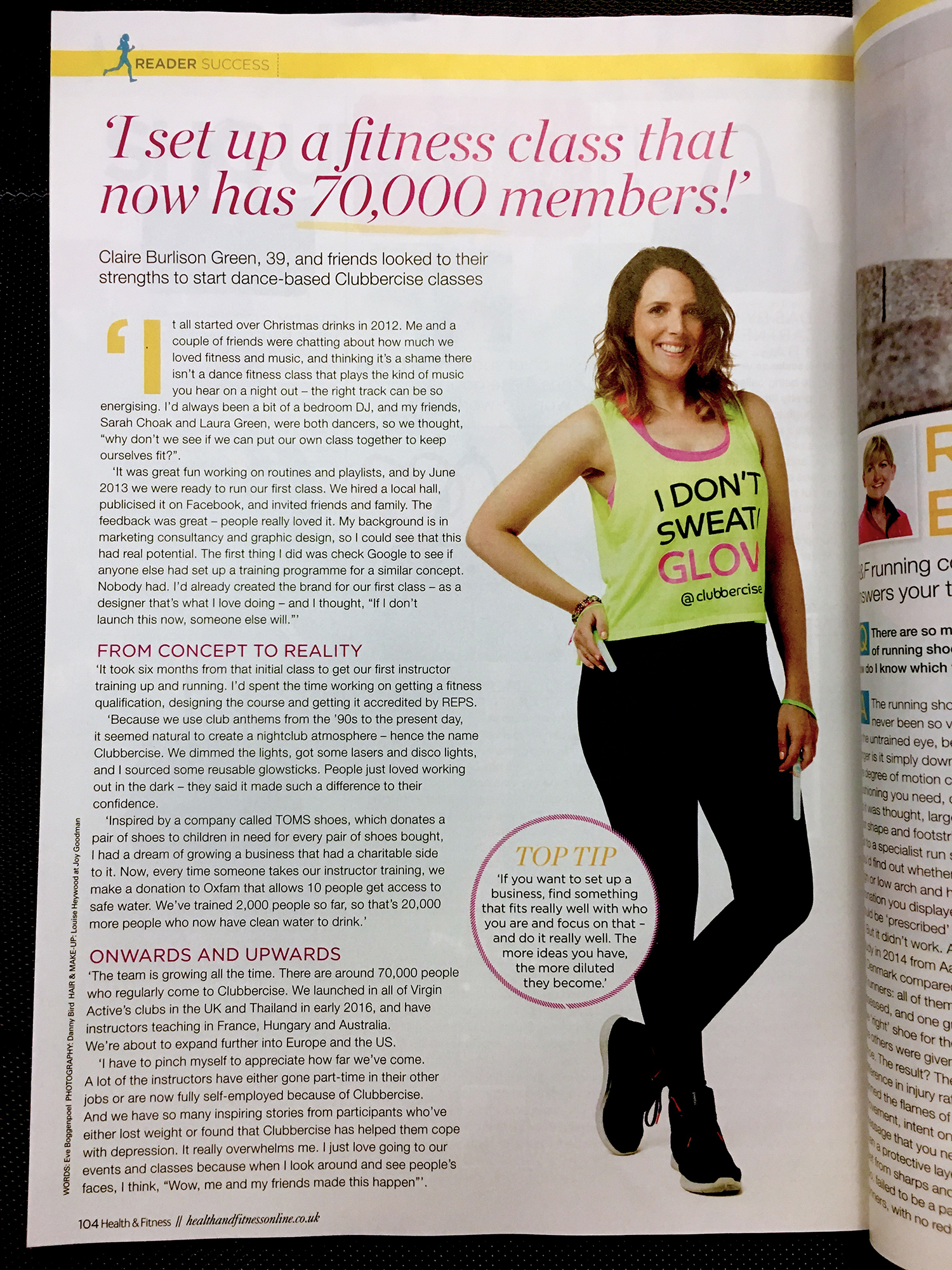 Health & Fitness magazine article